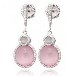Pendientes de plata modelo Roma con circonitas y piedras color gris y rosa, cierre a presión