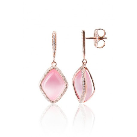 Pendientes de plata modelo Moscú con cierre a presión y piedra color rosa